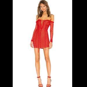 Majorelle red polka dot mesh darling dress